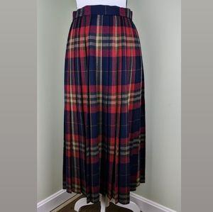Evan Picone Vintage Plaid Pleated Wool Midi Dress